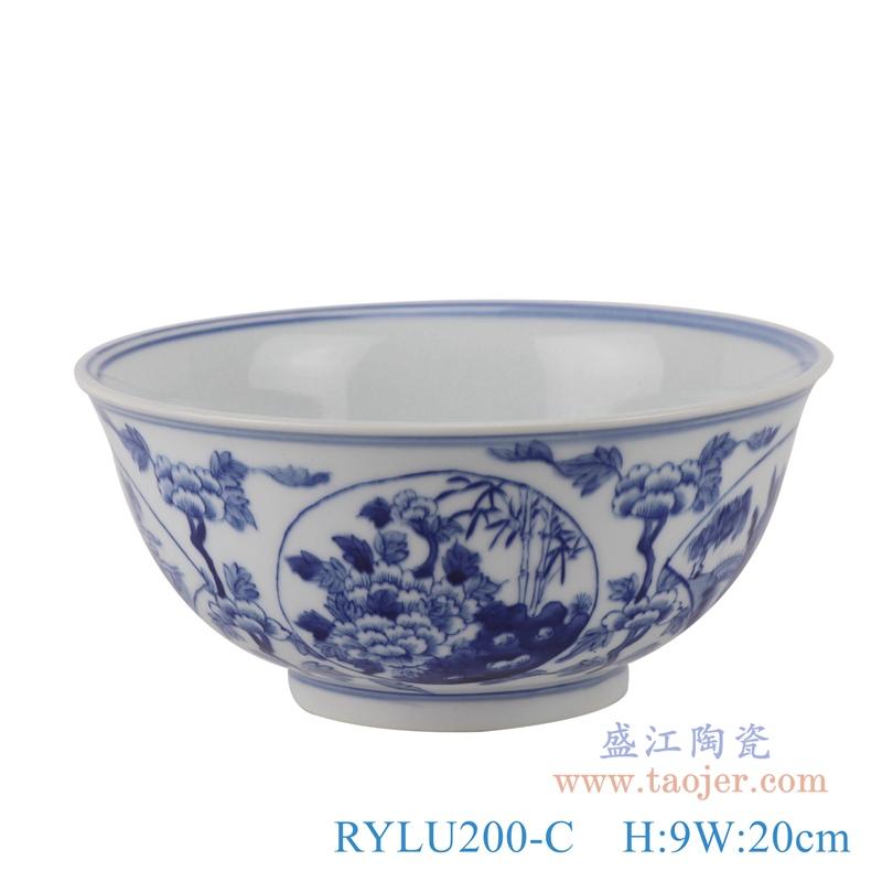 RYLU200-C青花牡丹纹大碗正面