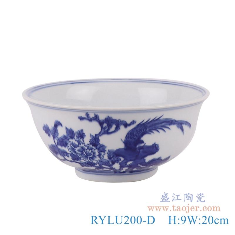RYLU200-D青花花鸟纹大碗正面