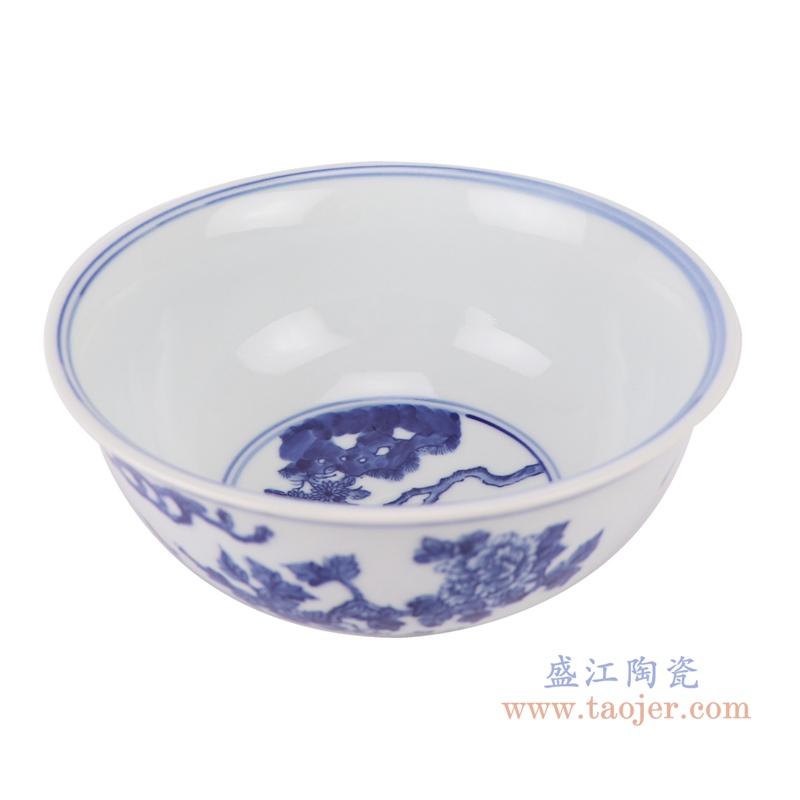 RYLU200-D青花花鸟纹大碗顶部