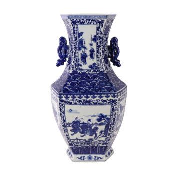 RYJF71青花双耳人物六面花瓶
