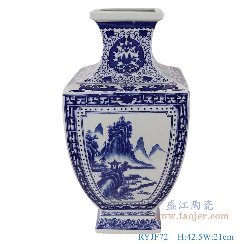 RYJF72青花山水四方花瓶正面