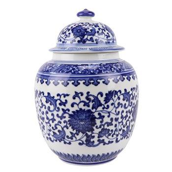RZBO04青花缠枝莲茶叶罐盖罐储物罐