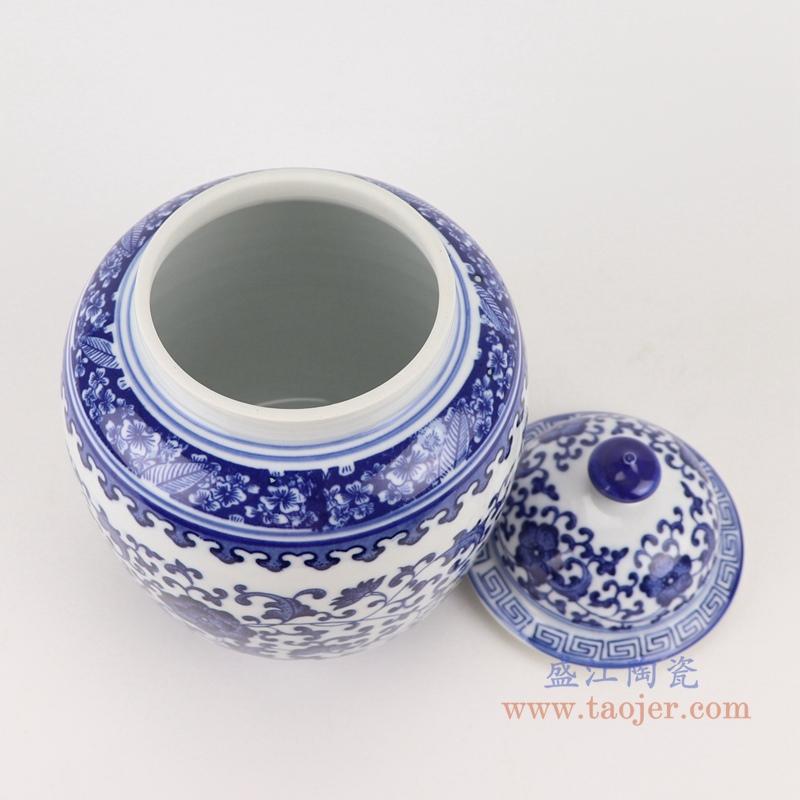 RZBO04青花缠枝莲茶叶罐盖罐储物罐顶部