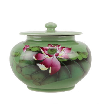 RZBO05绿色荷花盖罐储物罐