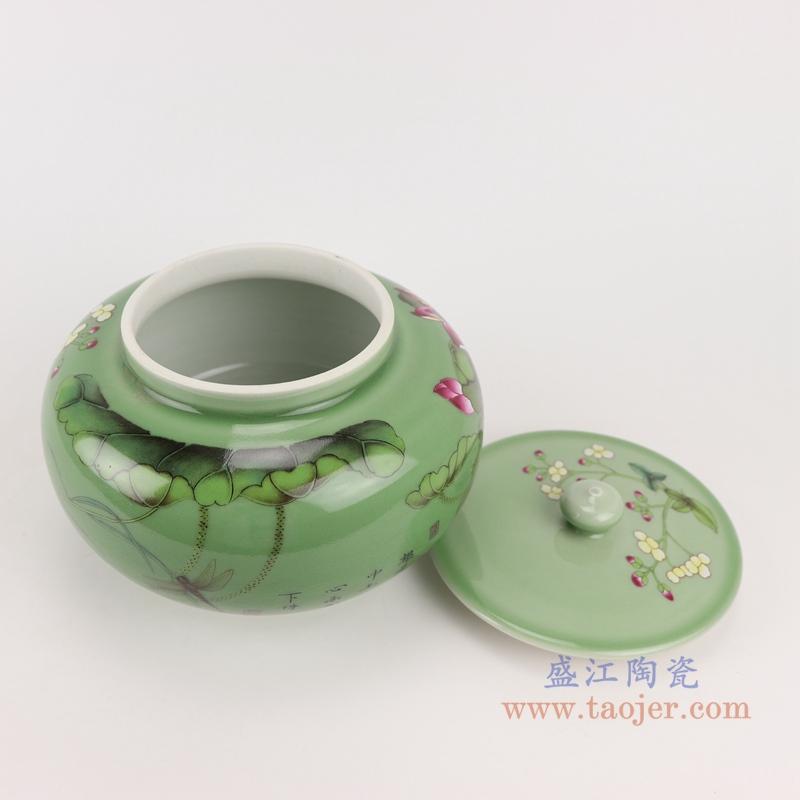 RZBO05绿色荷花盖罐储物罐顶部