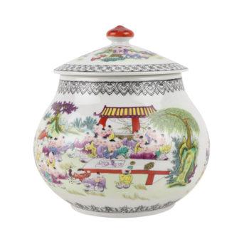 RZBO06粉彩人物小孩童子百子图婴戏图茶叶罐储物罐