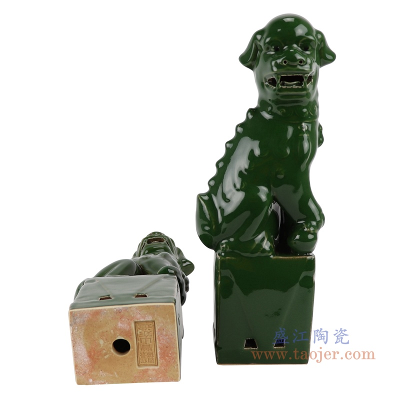 RZGB29-B绿色深绿蹲坐狮子狗一对底部