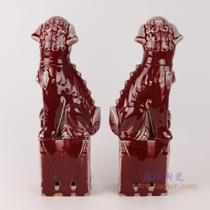 RZTF01颜色釉蹲坐郎红狮子狗一对侧面