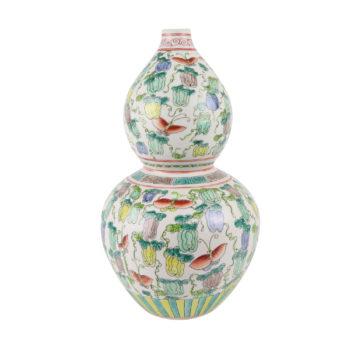 RZSY01斗彩彩色南瓜蝴蝶纹葫芦瓶