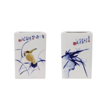 RZTE07-A青花写意梅兰竹菊四方花瓶笔筒