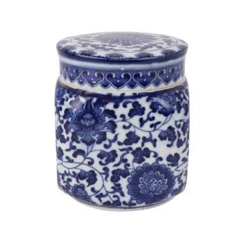 RZNV27青花缠枝莲四方盖罐茶叶罐储物小罐子