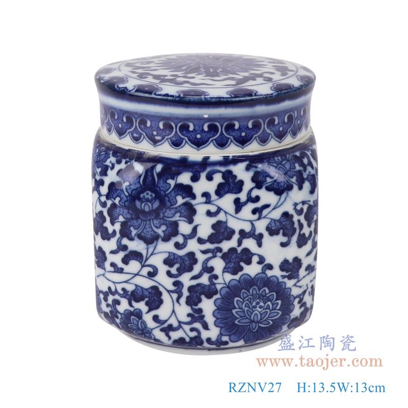 RZNV27青花缠枝莲四方盖罐茶叶罐储物小罐子正面