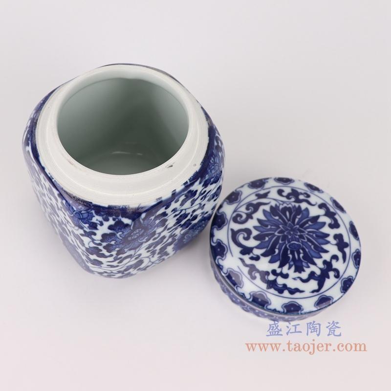 RZNV27青花缠枝莲四方盖罐茶叶罐储物小罐子顶部