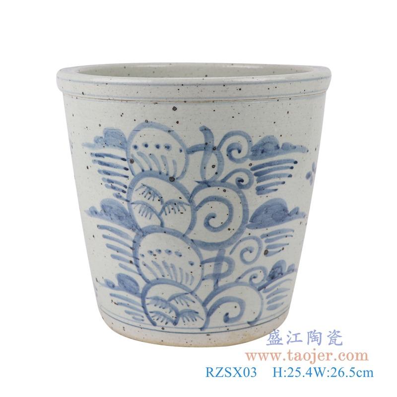RZSX03青花写意花卉花盆小缸正面