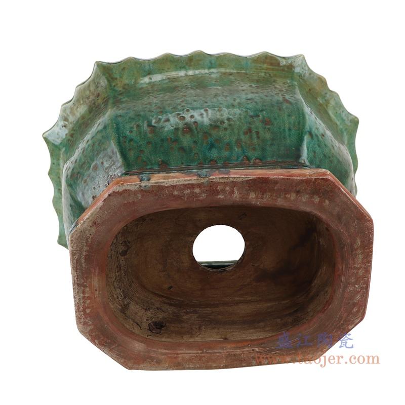 RZSP28 绿色窑变花边口沿六边形花盆六面花盆底部
