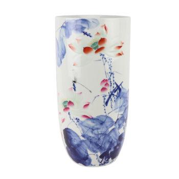 RZNP17彩色雕刻荷花箭筒异形花瓶