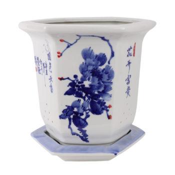 RZTE05青花写意牡丹纹花开富贵国色天香六面六边形带底托花盆