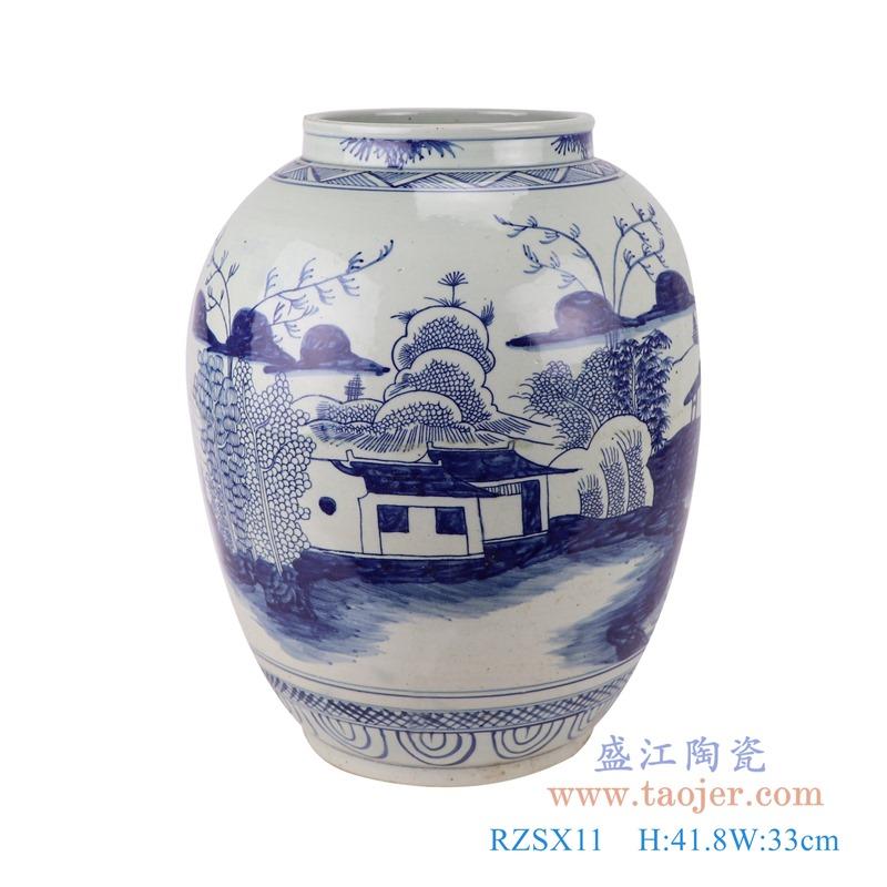 RZSX11仿古青花山水罐子花瓶正面