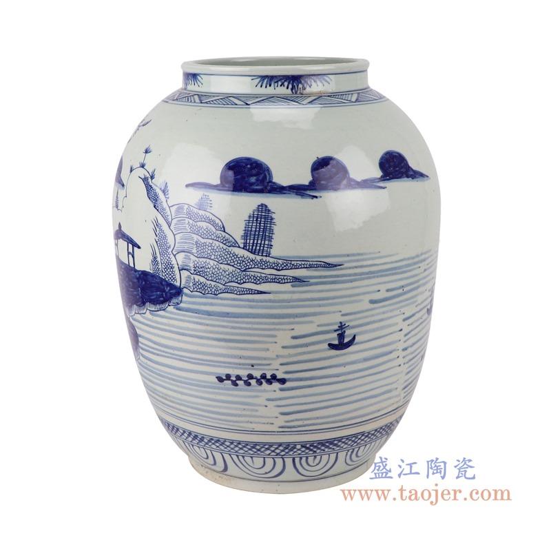 RZSX11仿古青花山水罐子花瓶侧面