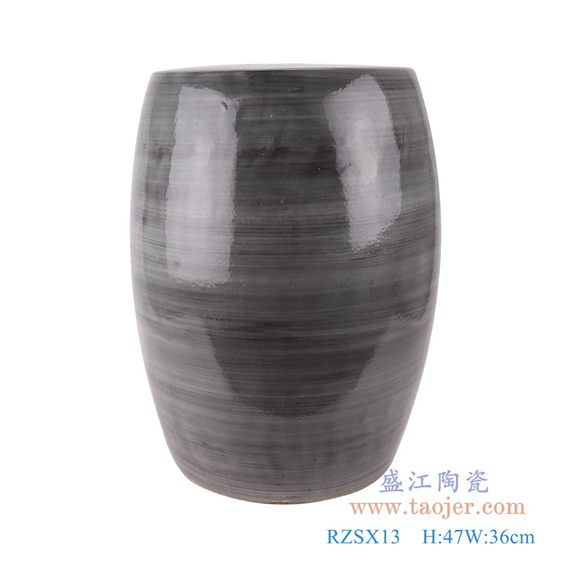 RZSX13颜色釉窑变黑色线圈纹鼓凳凉墩正面