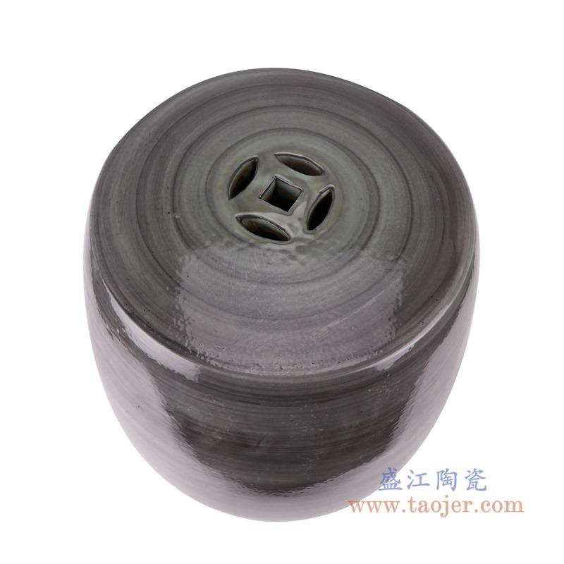 RZSX13颜色釉窑变黑色线圈纹鼓凳凉墩顶部
