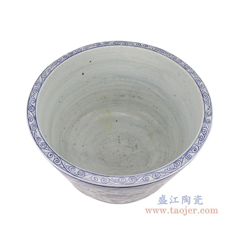 RZSX14青花开窗开光鱼藻纹花盆小缸顶部
