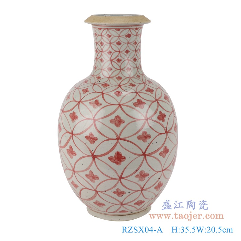 RZSX04-A矾红铜钱纹棒子花瓶正面