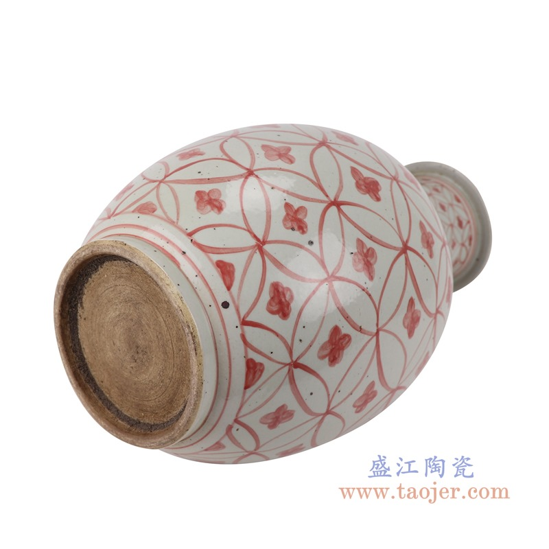 RZSX04-A矾红铜钱纹棒子花瓶底部