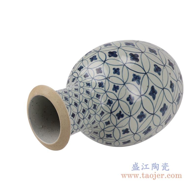 RZSX04-B青花铜钱纹棒子花瓶顶部