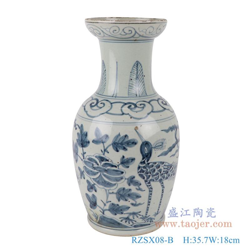 RZSX08-B仿古青花花鸟矮鱼尾瓶花瓶正面