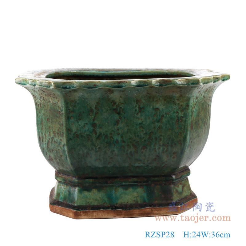 RZSP28 绿色窑变花边口沿六边形花盆六面花盆正面