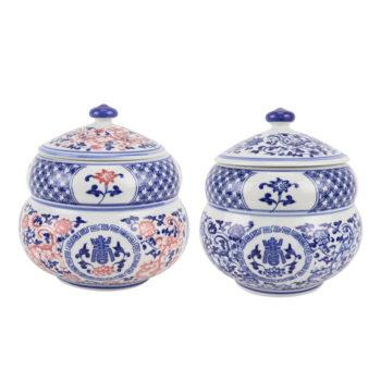 RZBO11青花釉里红开光开窗缠枝莲寿字纹茶叶罐储物罐