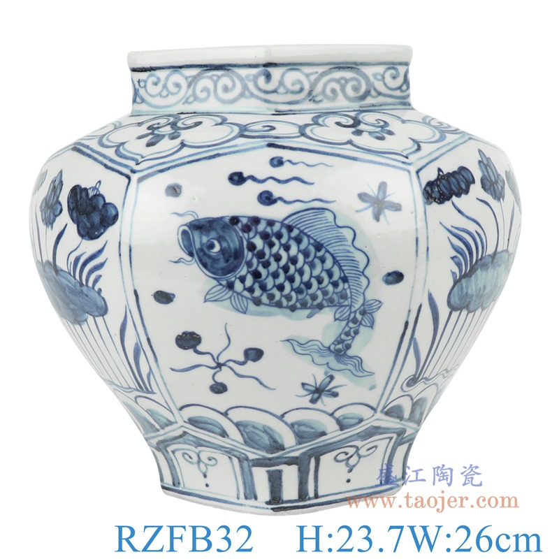 RZFB32青花鱼藻荷花纹六面罐