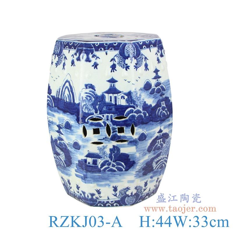 RZKJ03-A青花园林梧桐山水八面凳子