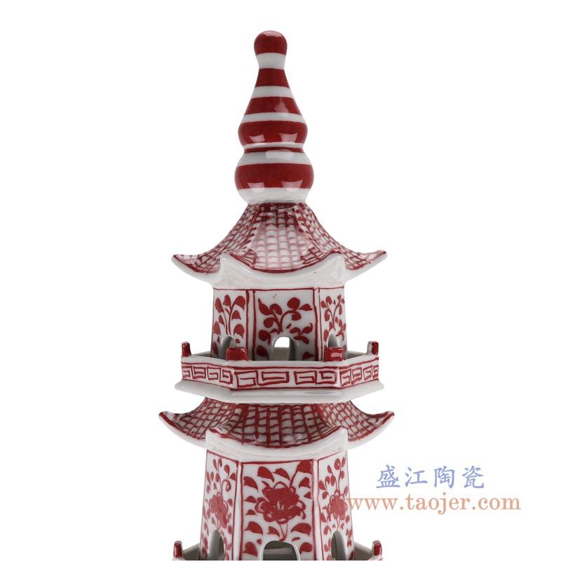 RZKR20-A 釉里红花卉七层宝塔