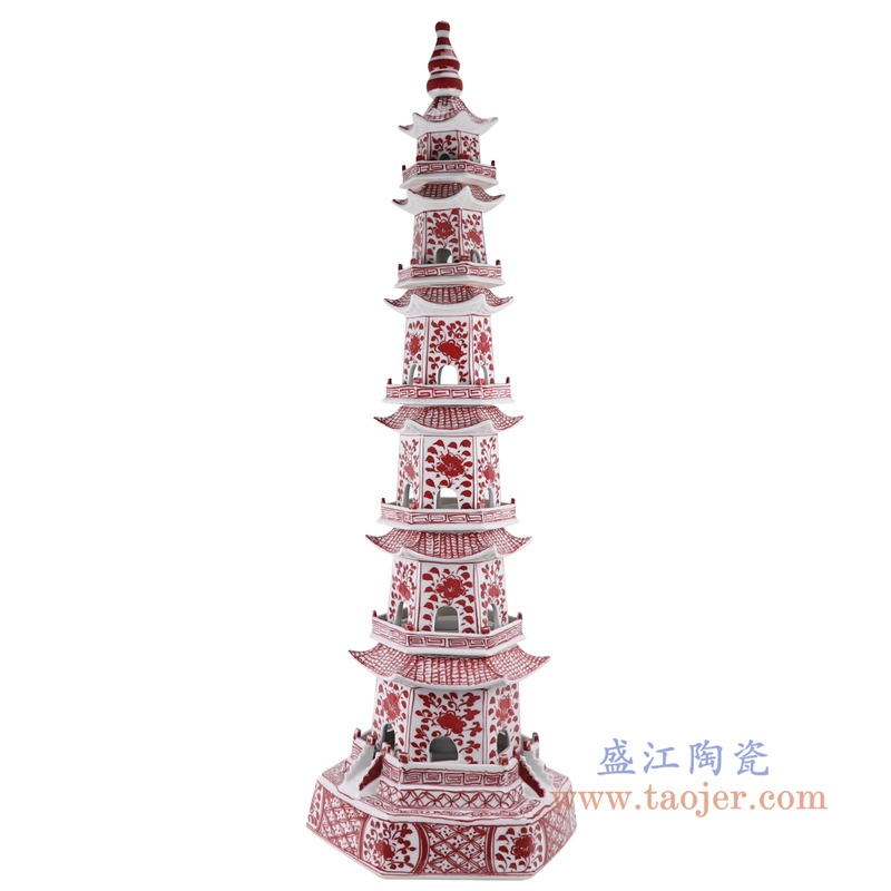RZKR20-A釉里红花卉七层宝塔