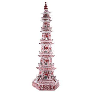 RZKR20 釉里红花卉七层八层宝塔