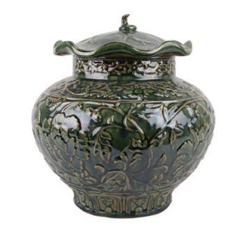 RZKR24颜色釉绿色雕刻牡丹纹荷叶盖罐储物罐