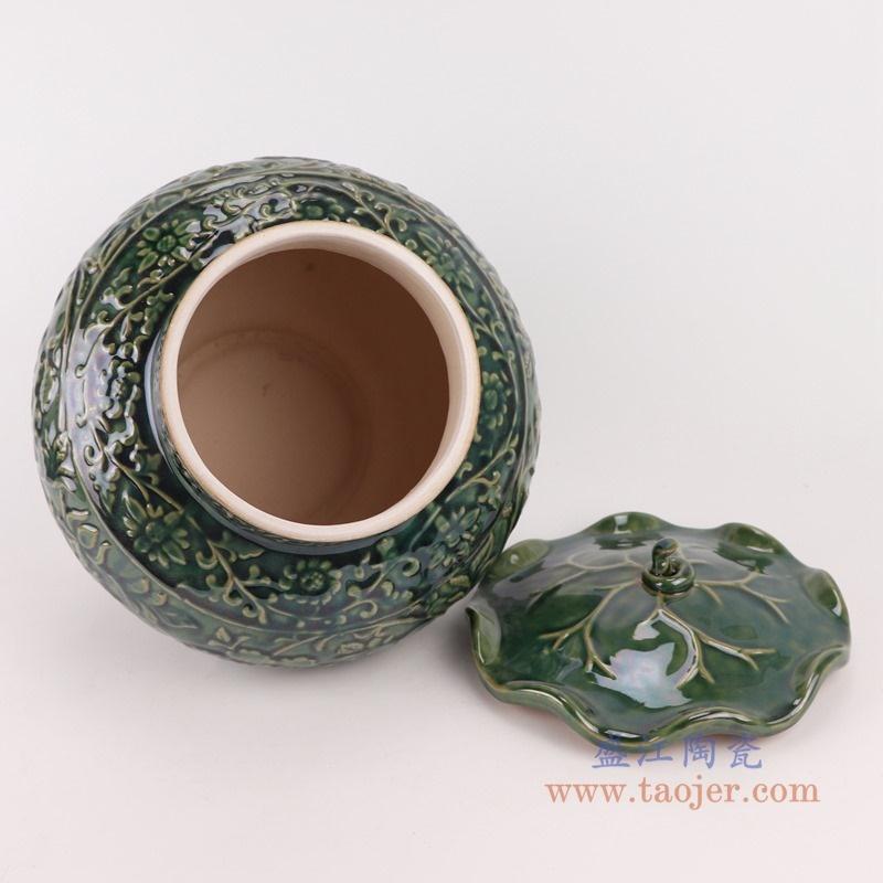 上图:RZKR24颜色釉绿色雕刻牡丹纹荷叶盖罐储物罐