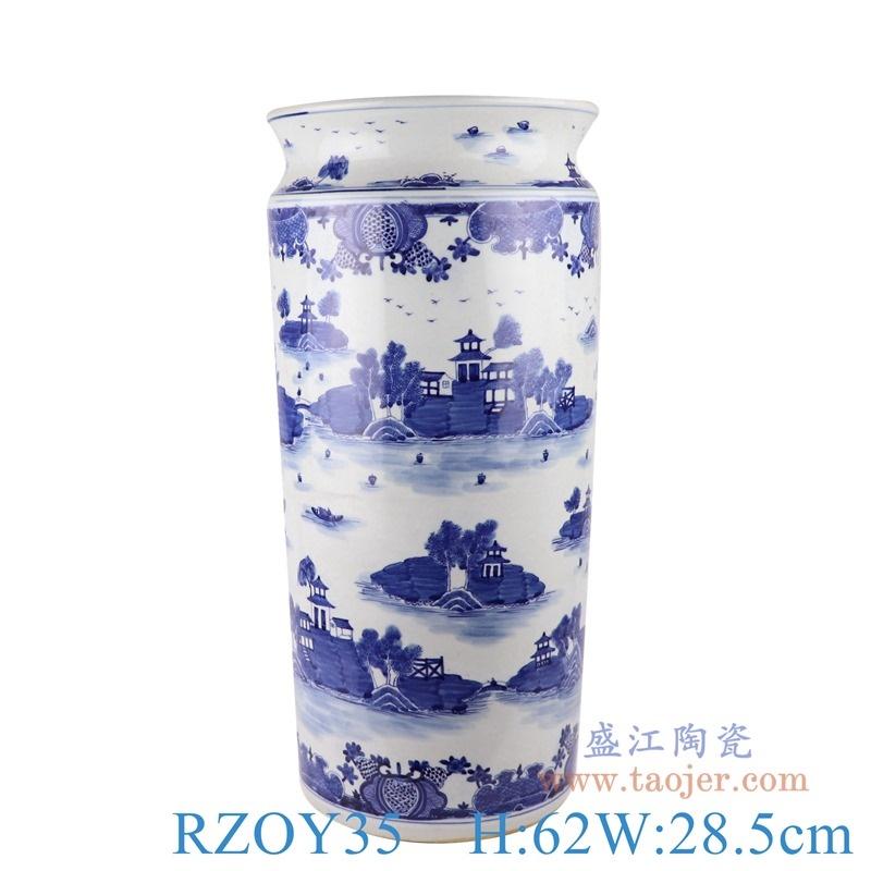上图:RZOY35青花梧桐山水箭筒伞筒直筒罐