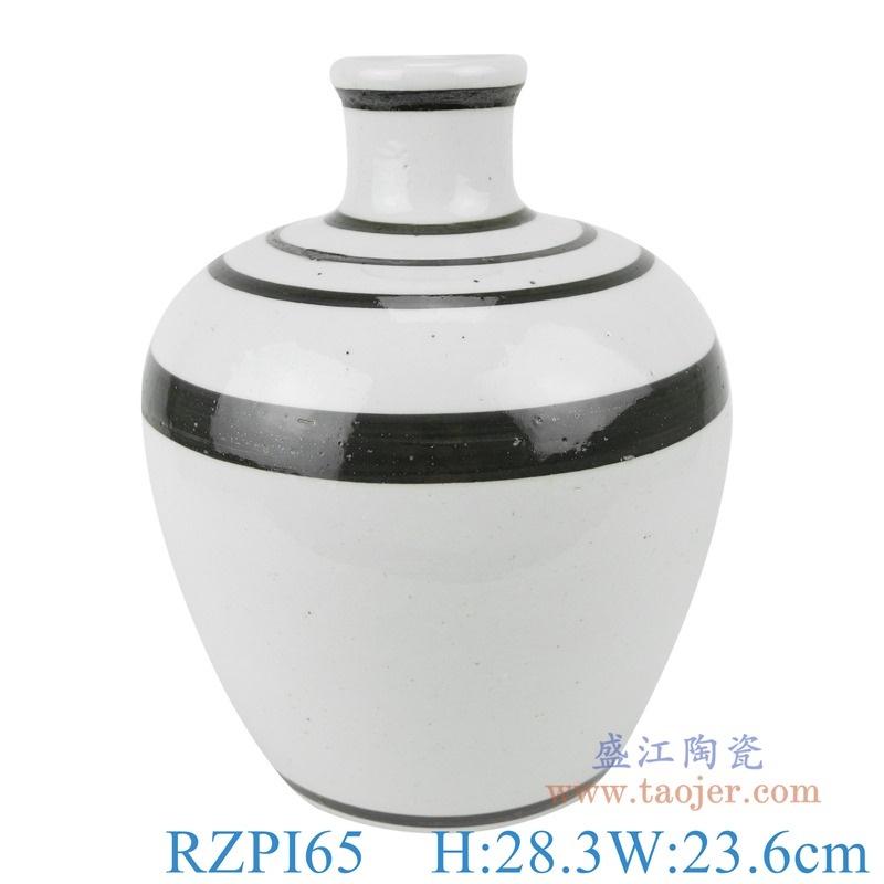 上图:RZPI65白色黑线圈纹花瓶