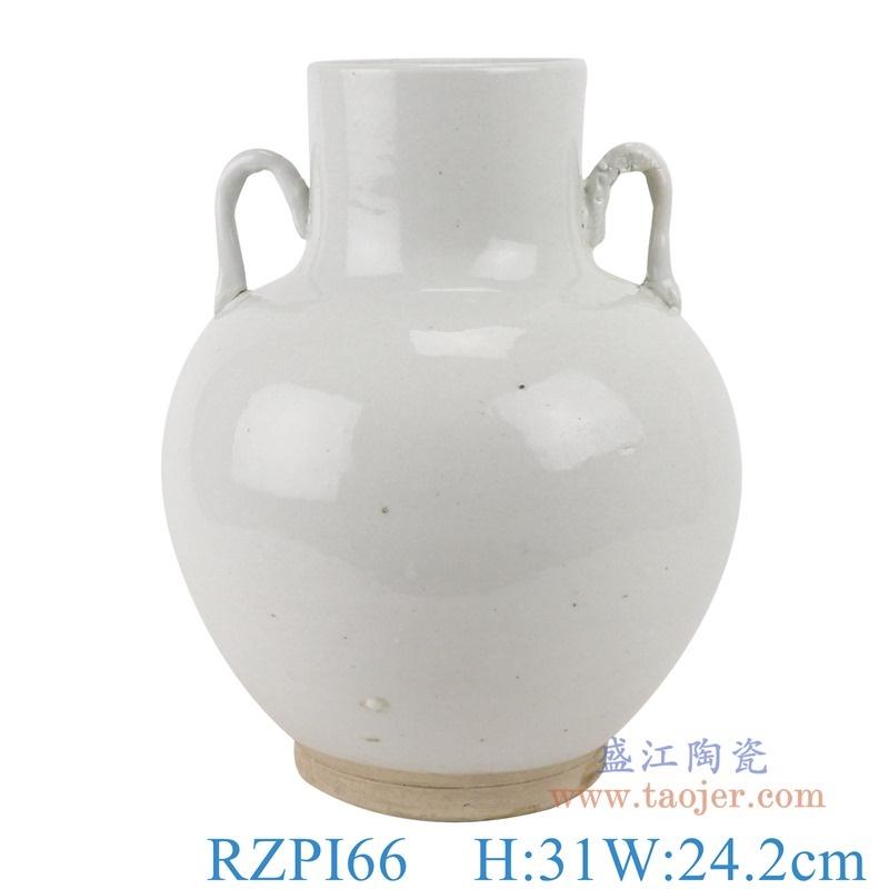 上图:RZPI66白色双耳福桶花瓶罐子