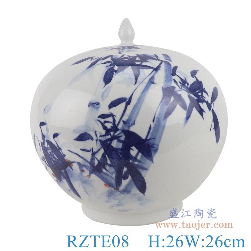 上图:RZTE08手绘青花写意竹纹西瓜罐尖盖罐