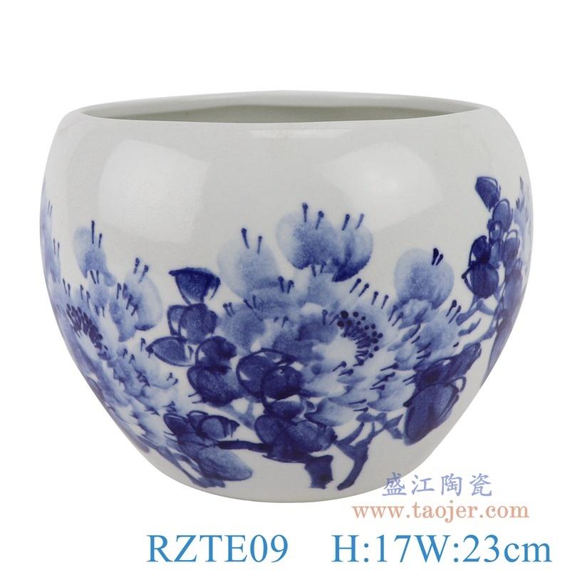 上图:RZTE09手绘青花写意牡丹纹笔洗小缸