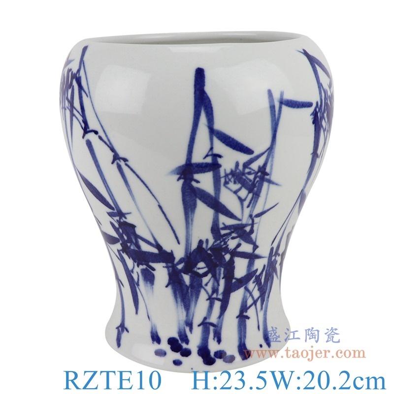 上图:RZTE10手绘青花写意竹子纹异形花瓶