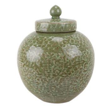 RZTL03颜色釉开片嫩绿雕刻缠枝寿字纹盖罐
