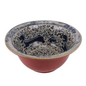 RZTL04青花开片狮子纹霁红大碗