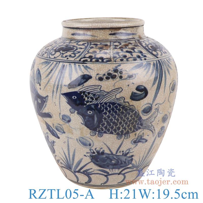 上图:RZTL05-A青花开片鱼草纹罐子