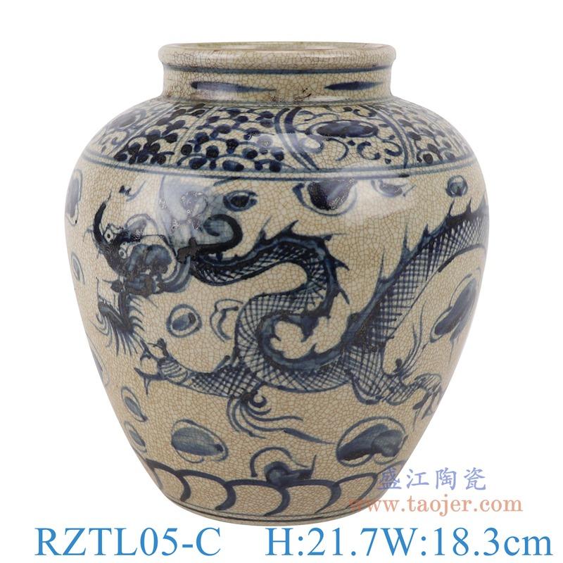 上图:RZTL05-C青花开片龙纹罐子