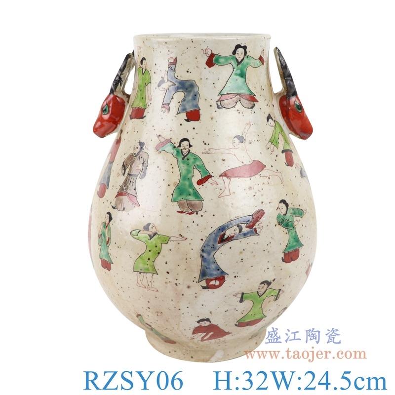 上图:RZSY06仿古粉彩双耳鹿耳人物仕女福桶